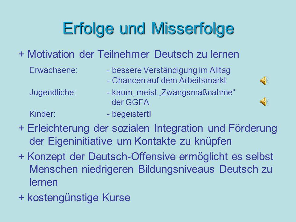 """Erfolge und Misserfolge + Motivation der Teilnehmer Deutsch zu lernen Erwachsene:- bessere Verständigung im Alltag - Chancen auf dem Arbeitsmarkt Jugendliche: - kaum, meist """"Zwangsmaßnahme der GGFA Kinder: - begeistert."""