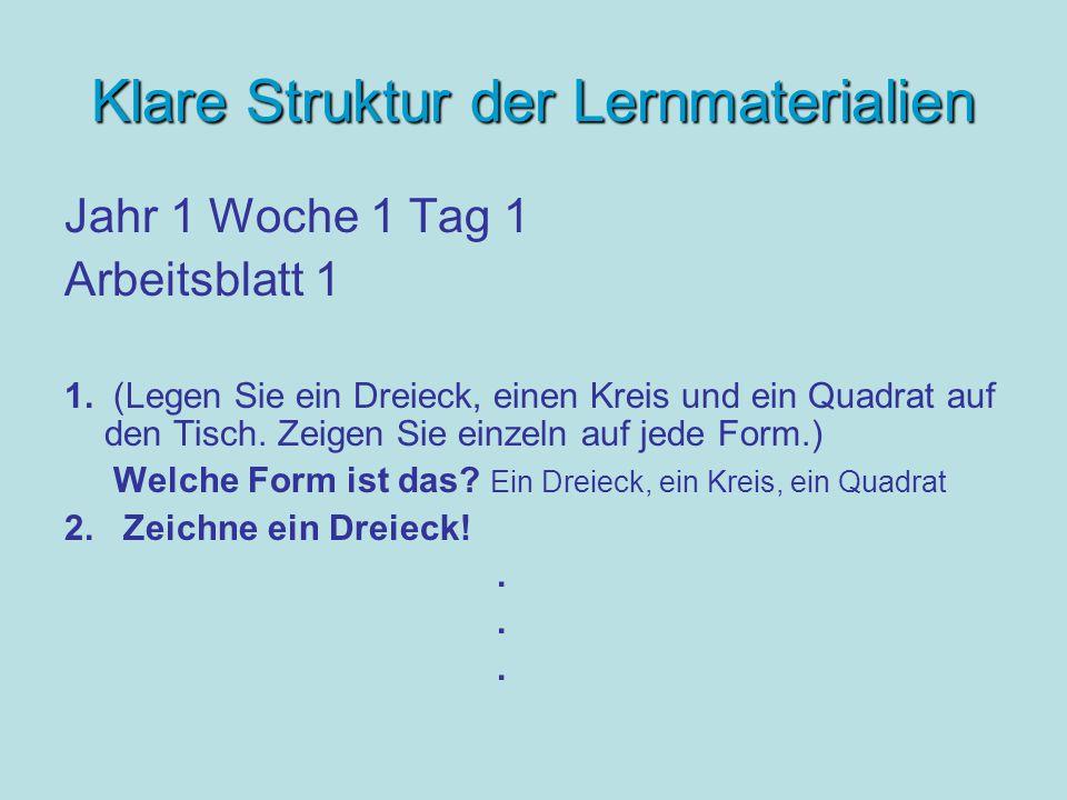 Klare Struktur der Lernmaterialien Jahr 1 Woche 1 Tag 1 Arbeitsblatt 1 1.