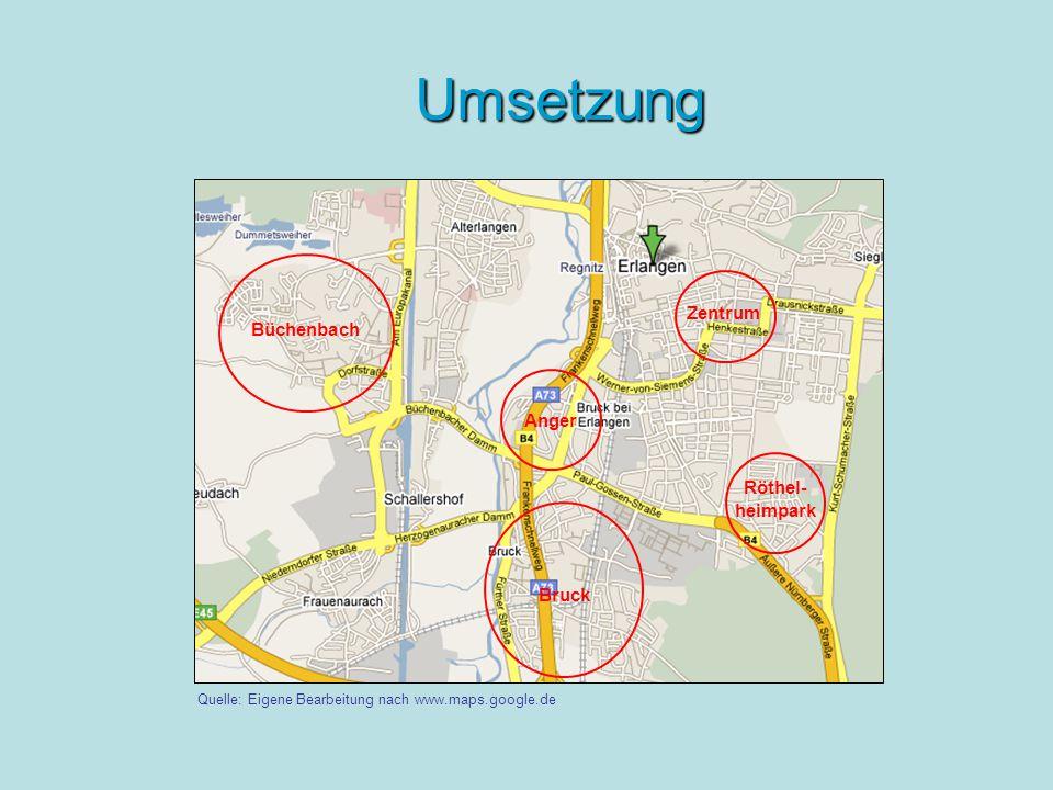 Umsetzung Büchenbach Bruck Anger Zentrum Röthel- heimpark Quelle: Eigene Bearbeitung nach www.maps.google.de