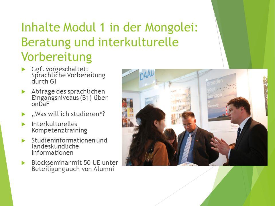 Inhalte Modul 1 in der Mongolei: Beratung und interkulturelle Vorbereitung  Ggf.