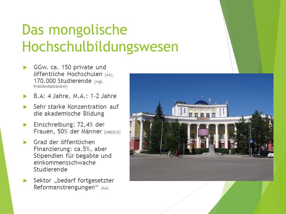 Das mongolische Hochschulbildungswesen  GGw. ca. 150 private und öffentliche Hochschulen (AA), 170.000 Studierende (mgl. Präsidentialkanzlei)  B.A: