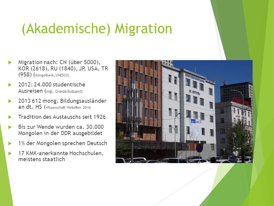 (Akademische) Migration  Migration nach: CN (über 5000), KOR (2618), RU (1840), JP, USA, TR (958) ( Mongolbank, UNESCO)  2012: 24.000 studentische Ausreisen ( mgl.