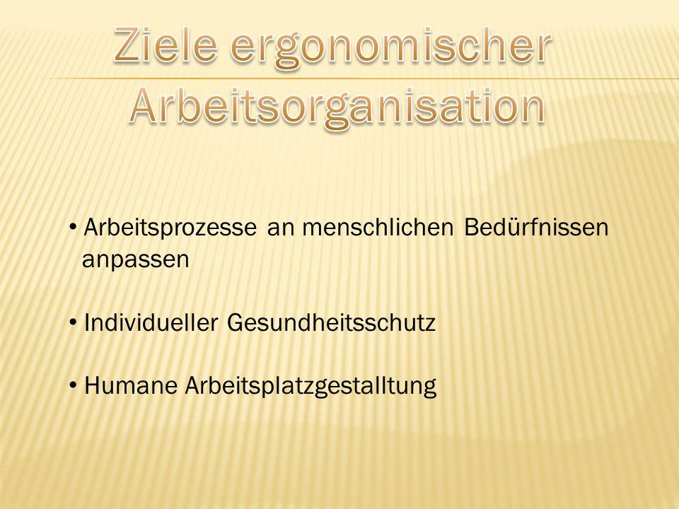 Arbeitsprozesse an menschlichen Bedürfnissen anpassen Individueller Gesundheitsschutz Humane Arbeitsplatzgestalltung