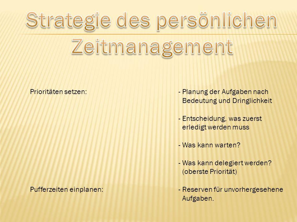 Prioritäten setzen:- Planung der Aufgaben nach Bedeutung und Dringlichkeit - Entscheidung, was zuerst erledigt werden muss - Was kann warten? - Was ka
