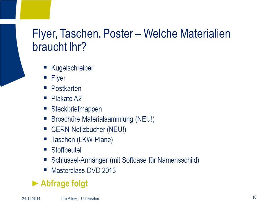Flyer, Taschen, Poster – Welche Materialien braucht Ihr? 10 24.11.2014 Uta Bilow, TU Dresden  Kugelschreiber  Flyer  Postkarten  Plakate A2  Stec