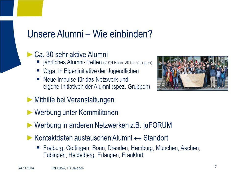 Unsere Alumni – Wie einbinden? 7 24.11.2014 Uta Bilow, TU Dresden ► Ca. 30 sehr aktive Alumni  jährliches Alumni-Treffen (2014 Bonn, 2015 Göttingen)