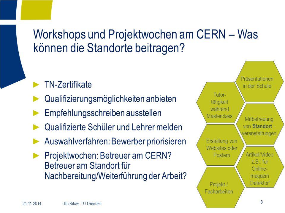 Workshops und Projektwochen am CERN – Was können die Standorte beitragen? 8 24.11.2014 Uta Bilow, TU Dresden ► TN-Zertifikate ► Qualifizierungsmöglich