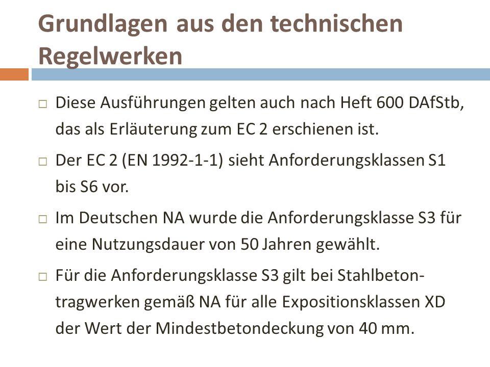 Grundlagen aus den technischen Regelwerken  Diese Ausführungen gelten auch nach Heft 600 DAfStb, das als Erläuterung zum EC 2 erschienen ist.  Der E