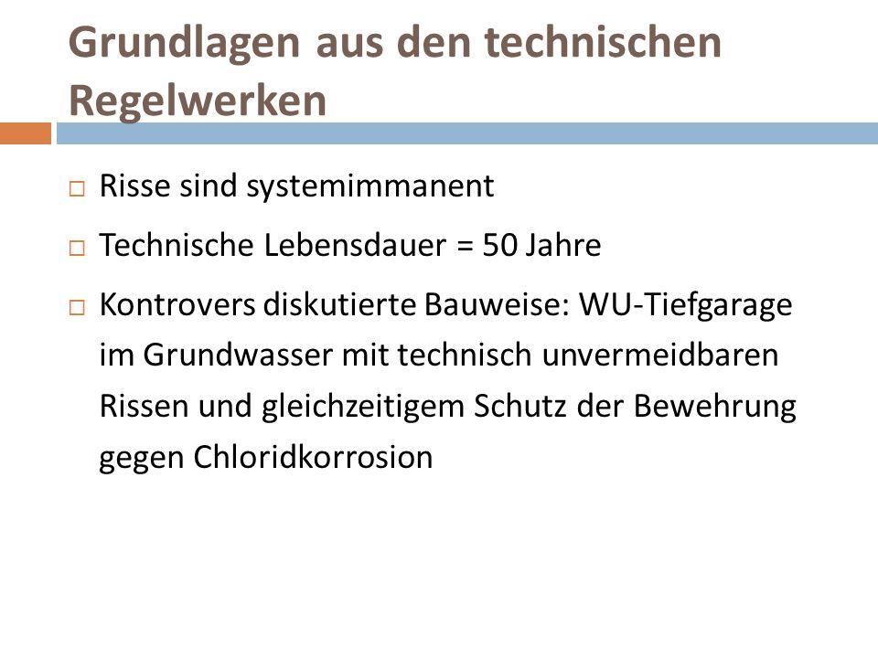 Grundlagen aus den technischen Regelwerken  Risse sind systemimmanent  Technische Lebensdauer = 50 Jahre  Kontrovers diskutierte Bauweise: WU-Tiefg
