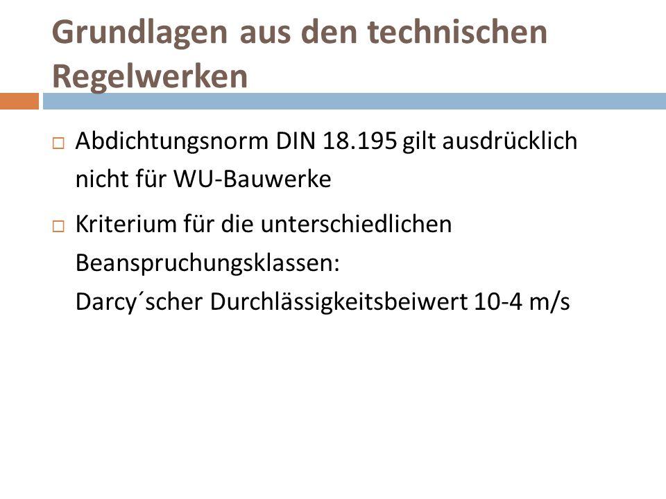 Grundlagen aus den technischen Regelwerken  Abdichtungsnorm DIN 18.195 gilt ausdrücklich nicht für WU-Bauwerke  Kriterium für die unterschiedlichen