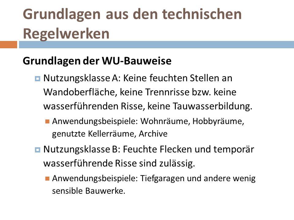 Grundlagen aus den technischen Regelwerken Grundlagen der WU-Bauweise  Nutzungsklasse A: Keine feuchten Stellen an Wandoberfläche, keine Trennrisse b