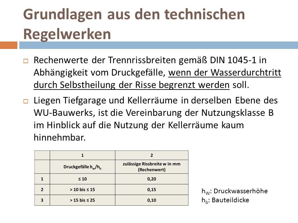 Grundlagen aus den technischen Regelwerken  Rechenwerte der Trennrissbreiten gemäß DIN 1045-1 in Abhängigkeit vom Druckgefälle, wenn der Wasserdurcht