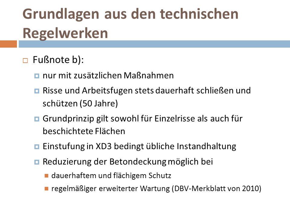 Grundlagen aus den technischen Regelwerken  Fußnote b):  nur mit zusätzlichen Maßnahmen  Risse und Arbeitsfugen stets dauerhaft schließen und schüt