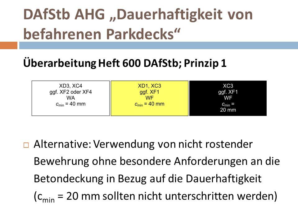 """DAfStb AHG """"Dauerhaftigkeit von befahrenen Parkdecks"""" Überarbeitung Heft 600 DAfStb; Prinzip 1  Alternative: Verwendung von nicht rostender Bewehrung"""