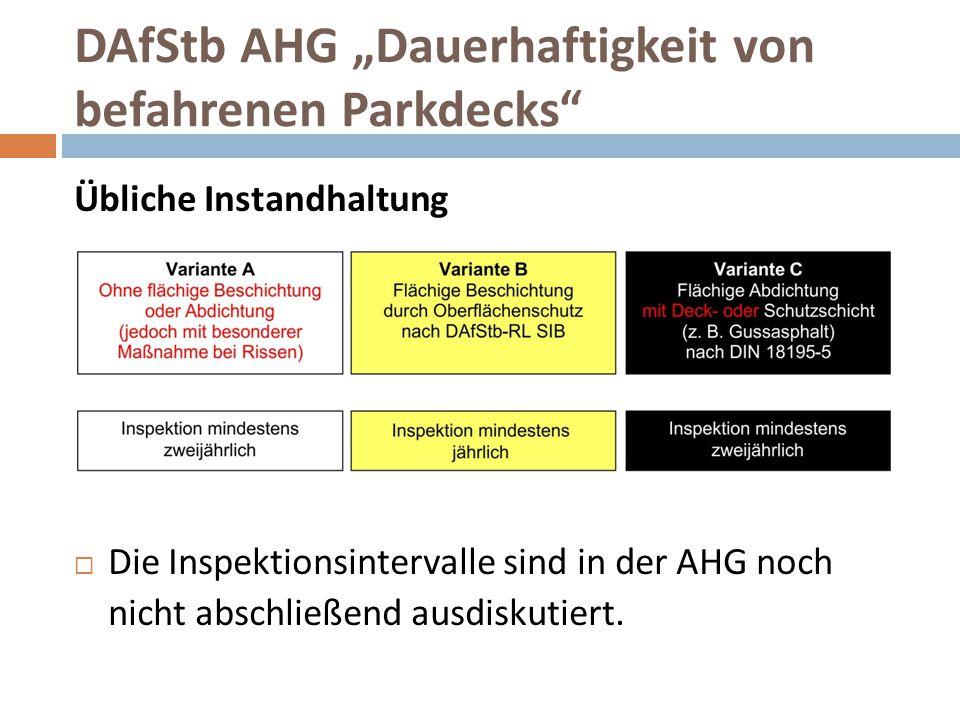 """DAfStb AHG """"Dauerhaftigkeit von befahrenen Parkdecks"""" Übliche Instandhaltung  Die Inspektionsintervalle sind in der AHG noch nicht abschließend ausdi"""