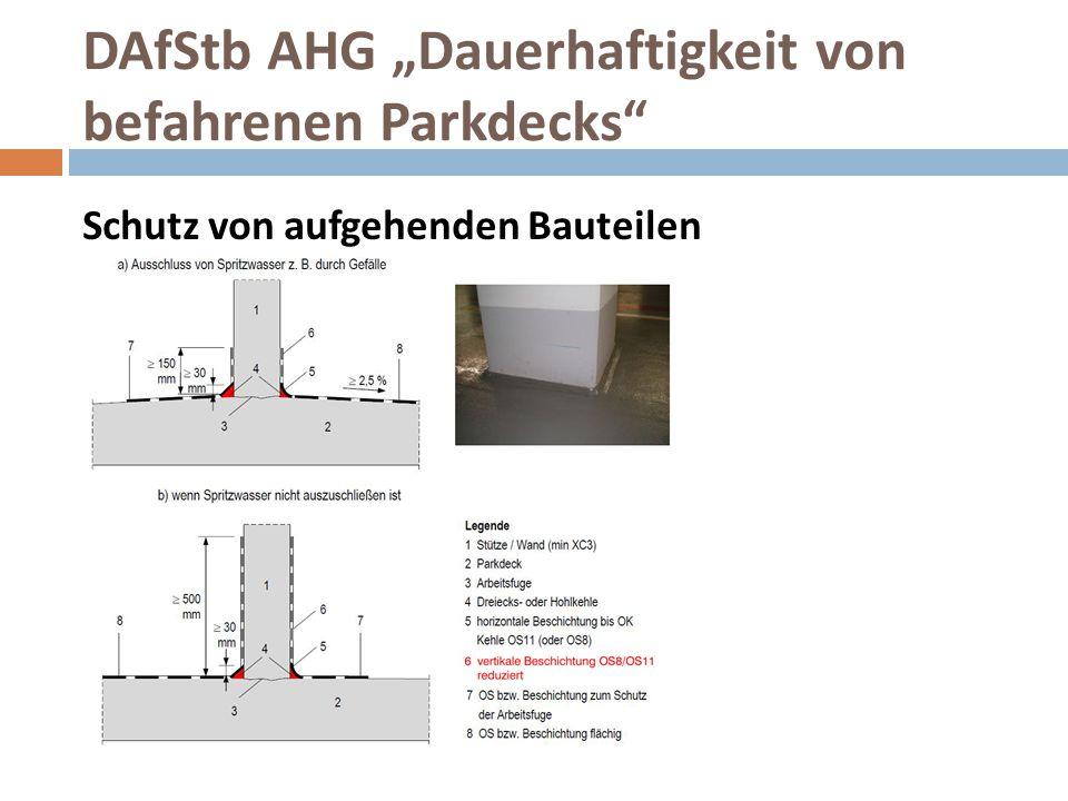 """DAfStb AHG """"Dauerhaftigkeit von befahrenen Parkdecks"""" Schutz von aufgehenden Bauteilen"""