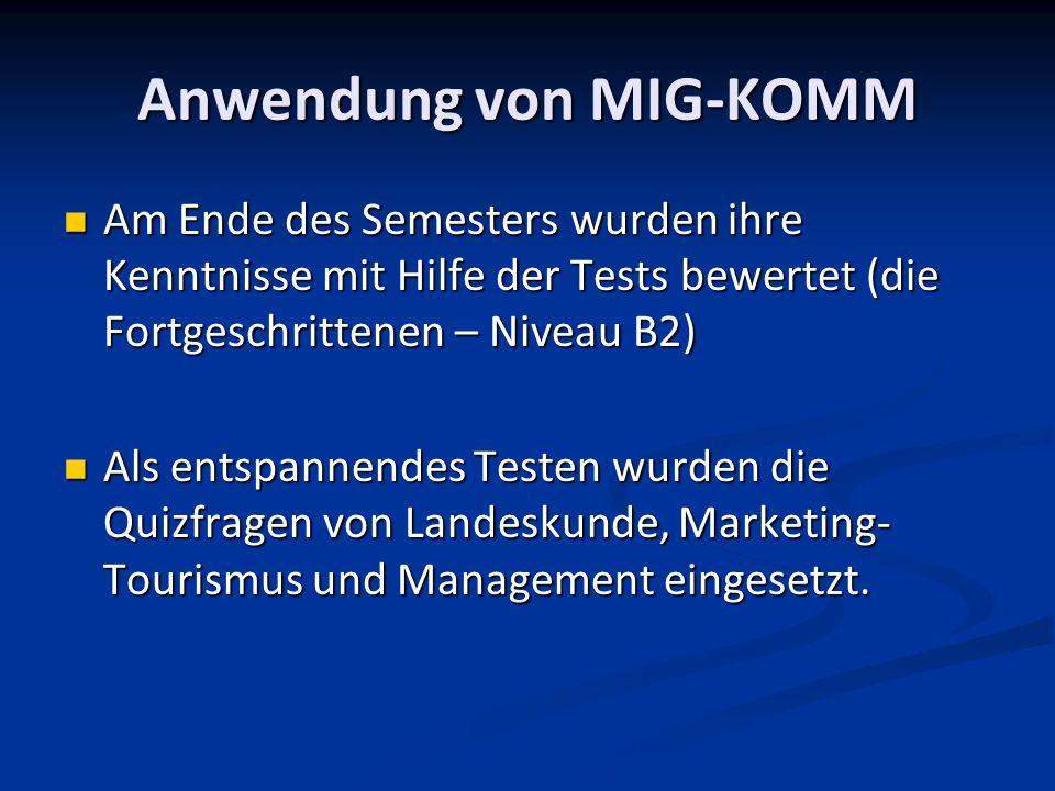 Anwendung von MIG-KOMM Am Ende des Semesters wurden ihre Kenntnisse mit Hilfe der Tests bewertet (die Fortgeschrittenen – Niveau B2) Am Ende des Semesters wurden ihre Kenntnisse mit Hilfe der Tests bewertet (die Fortgeschrittenen – Niveau B2) Als entspannendes Testen wurden die Quizfragen von Landeskunde, Marketing- Tourismus und Management eingesetzt.