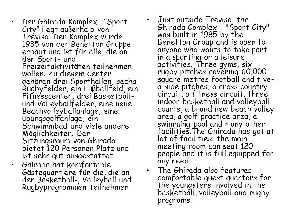 """Der Ghirada Komplex –""""Sport City"""" liegt außerhalb von Treviso. Der Komplex wurde 1985 von der Benetton Gruppe erbaut und ist für alle, die an den Spor"""