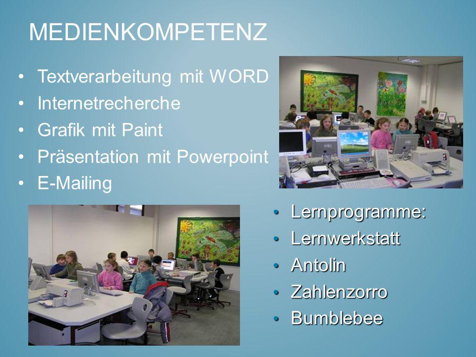 MEDIENKOMPETENZ Textverarbeitung mit WORD Internetrecherche Grafik mit Paint Präsentation mit Powerpoint E-Mailing Lernprogramme: Lernprogramme: Lernw