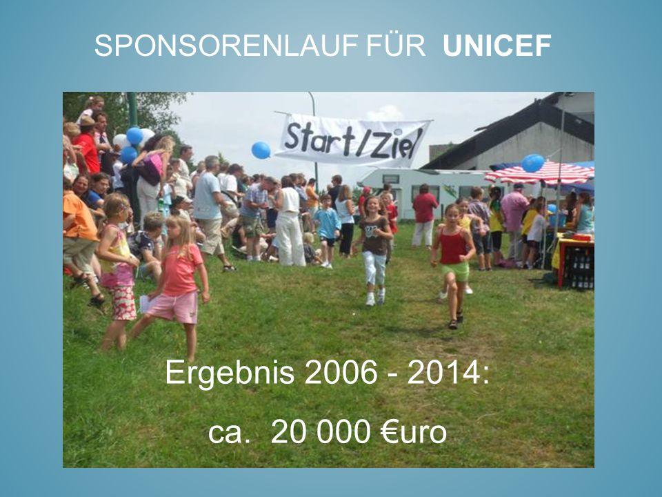 SPONSORENLAUF FÜR UNICEF Ergebnis 2006 - 2014: ca. 20 000 €uro