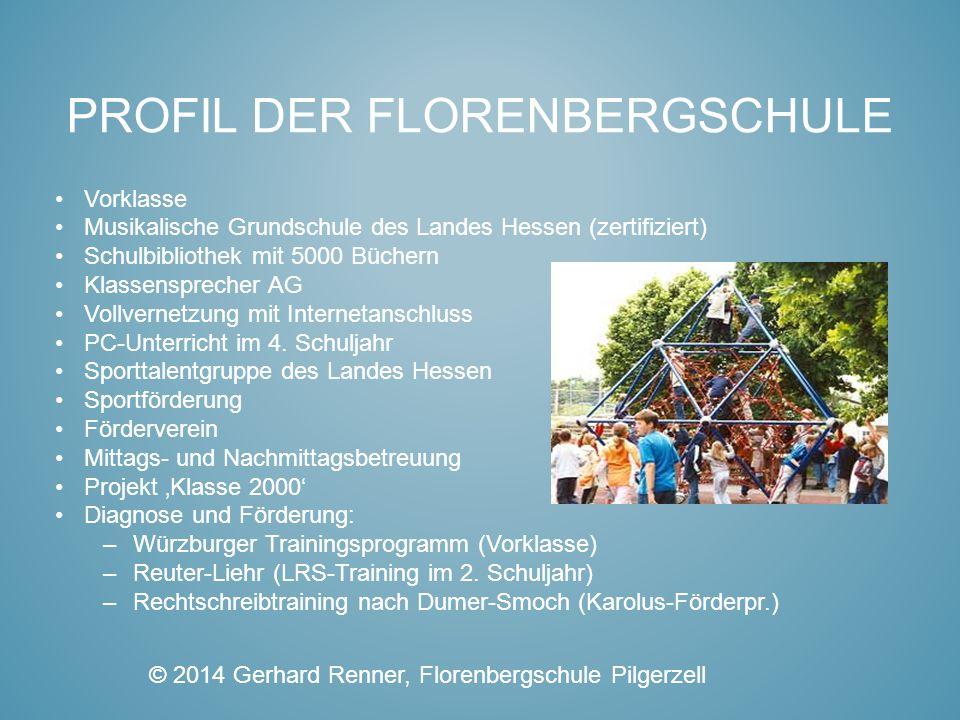 PROFIL DER FLORENBERGSCHULE Vorklasse Musikalische Grundschule des Landes Hessen (zertifiziert) Schulbibliothek mit 5000 Büchern Klassensprecher AG Vo