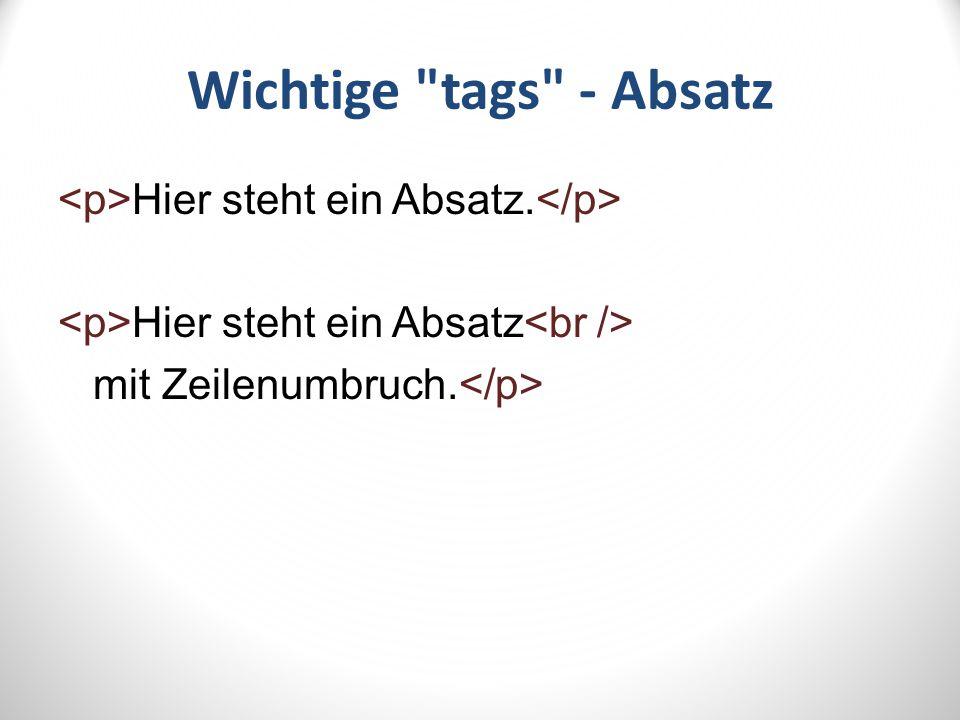 Wichtige tags - Links TEXT href bedeutet Hyperlink Reference – index.html – http://www.igs-list.de meine Schule
