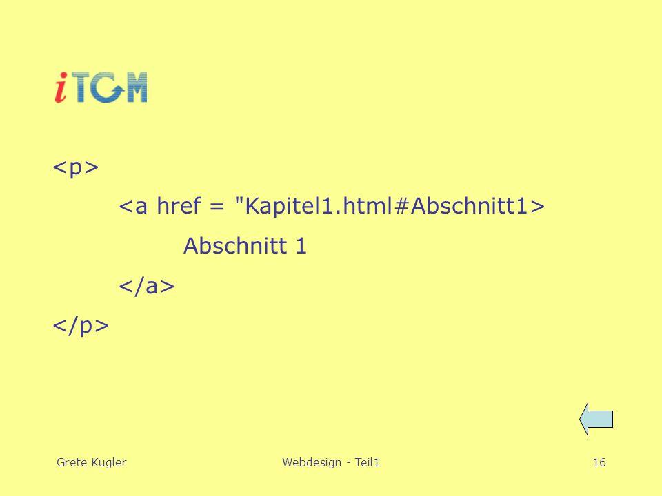 Grete KuglerWebdesign - Teil116 Abschnitt 1
