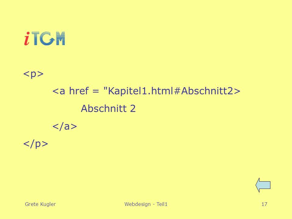 Grete KuglerWebdesign - Teil117 Abschnitt 2