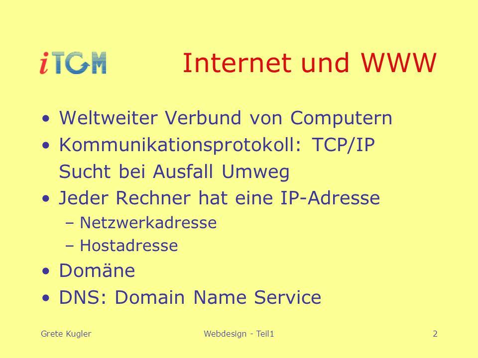 Grete KuglerWebdesign - Teil12 Internet und WWW Weltweiter Verbund von Computern Kommunikationsprotokoll: TCP/IP Sucht bei Ausfall Umweg Jeder Rechner hat eine IP-Adresse –Netzwerkadresse –Hostadresse Domäne DNS: Domain Name Service
