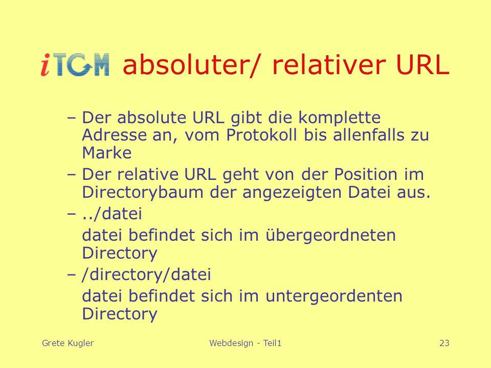 Grete KuglerWebdesign - Teil123 absoluter/ relativer URL –Der absolute URL gibt die komplette Adresse an, vom Protokoll bis allenfalls zu Marke –Der relative URL geht von der Position im Directorybaum der angezeigten Datei aus.