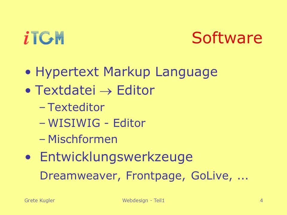 Grete KuglerWebdesign - Teil14 Software Hypertext Markup Language Textdatei  Editor –Texteditor –WISIWIG - Editor –Mischformen Entwicklungswerkzeuge