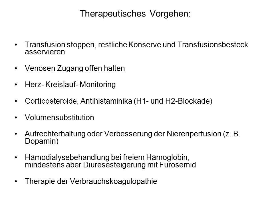 Therapeutisches Vorgehen: Transfusion stoppen, restliche Konserve und Transfusionsbesteck asservieren Venösen Zugang offen halten Herz- Kreislauf- Monitoring Corticosteroide, Antihistaminika (H1- und H2-Blockade) Volumensubstitution Aufrechterhaltung oder Verbesserung der Nierenperfusion (z.