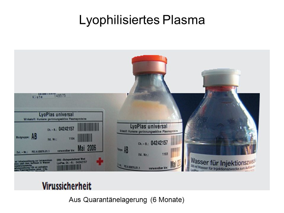 Lyophilisiertes Plasma Aus Quarantänelagerung (6 Monate)