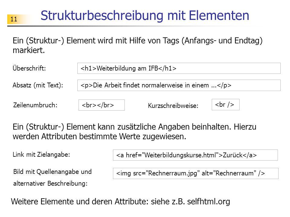 11 Strukturbeschreibung mit Elementen Ein (Struktur-) Element wird mit Hilfe von Tags (Anfangs- und Endtag) markiert.