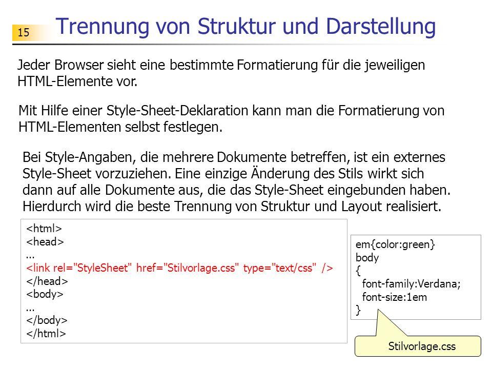 15 Trennung von Struktur und Darstellung Jeder Browser sieht eine bestimmte Formatierung für die jeweiligen HTML-Elemente vor.