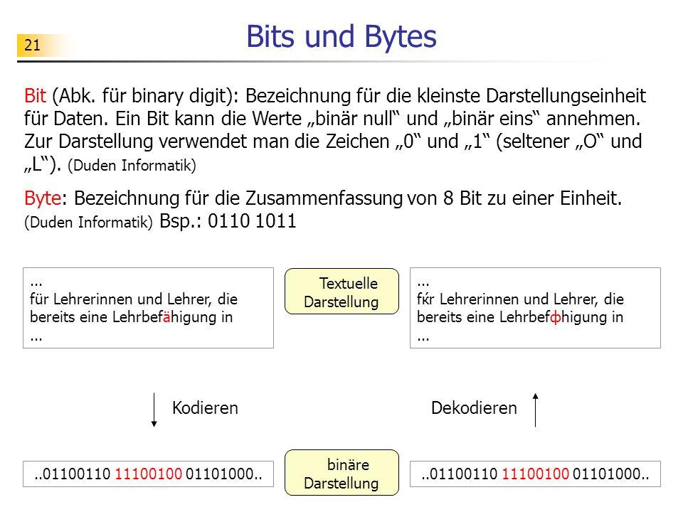 21 Bits und Bytes Bit (Abk.