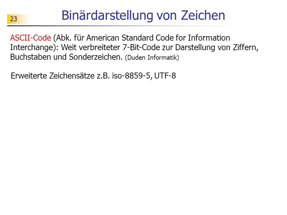 23 Binärdarstellung von Zeichen ASCII-Code (Abk.