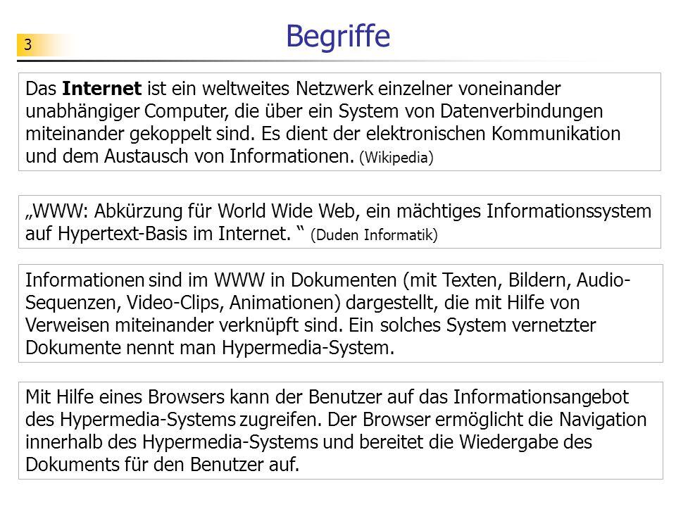 3 Begriffe Das Internet ist ein weltweites Netzwerk einzelner voneinander unabhängiger Computer, die über ein System von Datenverbindungen miteinander gekoppelt sind.
