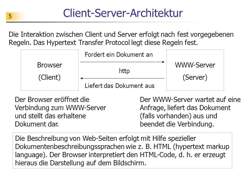 5 Client-Server-Architektur Browser (Client) WWW-Server (Server) Fordert ein Dokument an Liefert das Dokument aus http Die Interaktion zwischen Client und Server erfolgt nach fest vorgegebenen Regeln.
