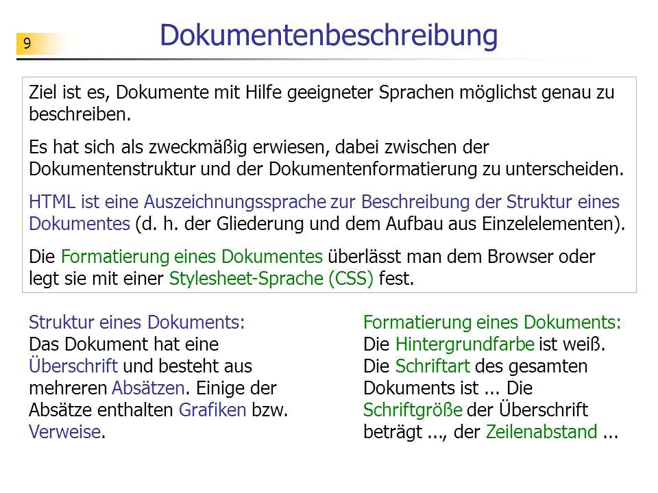9 Dokumentenbeschreibung Ziel ist es, Dokumente mit Hilfe geeigneter Sprachen möglichst genau zu beschreiben.
