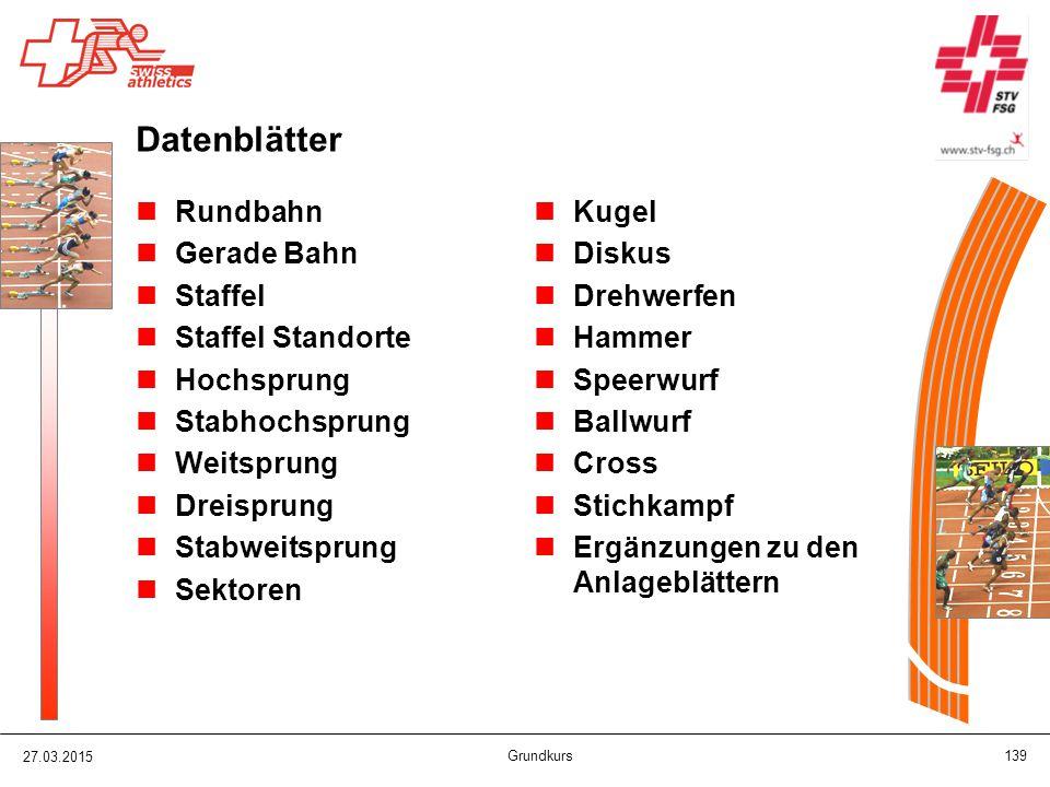 Datenblätter Rundbahn Gerade Bahn Staffel Staffel Standorte Hochsprung Stabhochsprung Weitsprung Dreisprung Stabweitsprung Sektoren Kugel Diskus Drehw