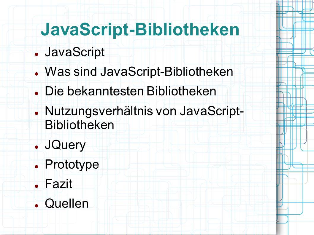 JavaScript Hauptsächlich für Browser-Anwendungen Von einfachen Effekten bis Verschleierung von E-Mail-Adressen Mittlerweile auch serverseitige Anwendungen und Spiele realisierbar Wenig Gemeinsamkeit mit JAVA