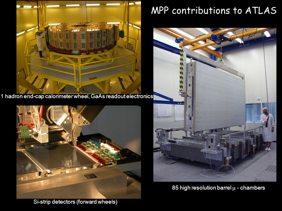 MPP contributions to ATLAS 1 hadron end-cap calorimeter wheel, GaAs readout electronics 85 high resolution barrel  - chambers Si-strip detectors (for