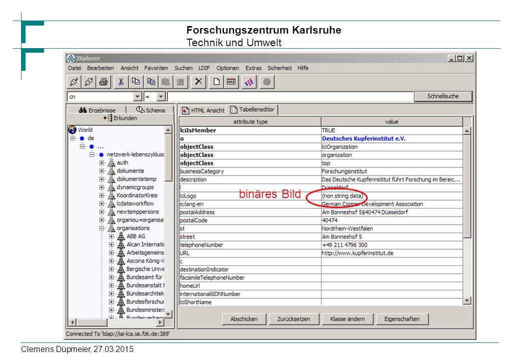 Forschungszentrum Karlsruhe Technik und Umwelt Clemens Düpmeier, 27.03.2015 binäres Bild