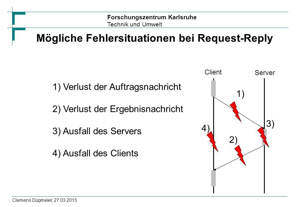 Forschungszentrum Karlsruhe Technik und Umwelt Clemens Düpmeier, 27.03.2015 Mögliche Fehlersituationen bei Request-Reply Client Server 1) Verlust der