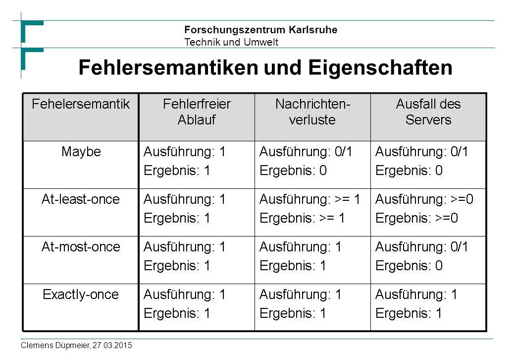 Forschungszentrum Karlsruhe Technik und Umwelt Clemens Düpmeier, 27.03.2015 Fehlersemantiken und Eigenschaften