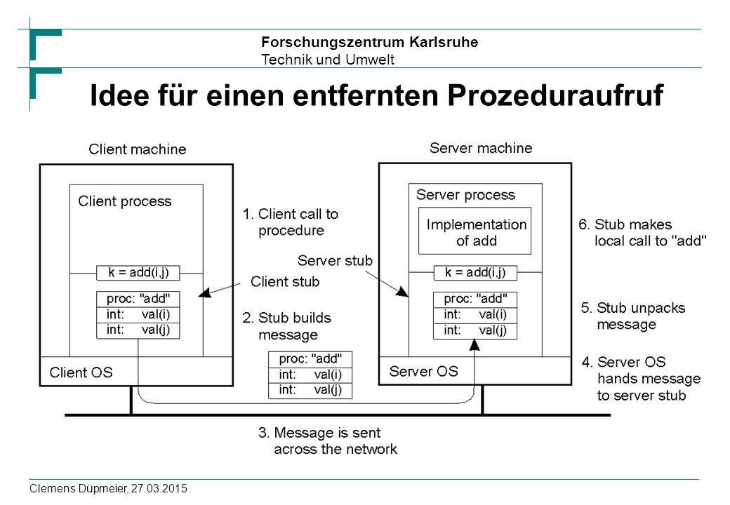 Forschungszentrum Karlsruhe Technik und Umwelt Clemens Düpmeier, 27.03.2015 Idee für einen entfernten Prozeduraufruf