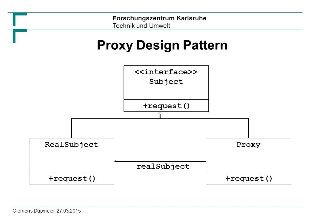 Forschungszentrum Karlsruhe Technik und Umwelt Clemens Düpmeier, 27.03.2015 Proxy Design Pattern +request() > Subject +request() RealSubject +request(