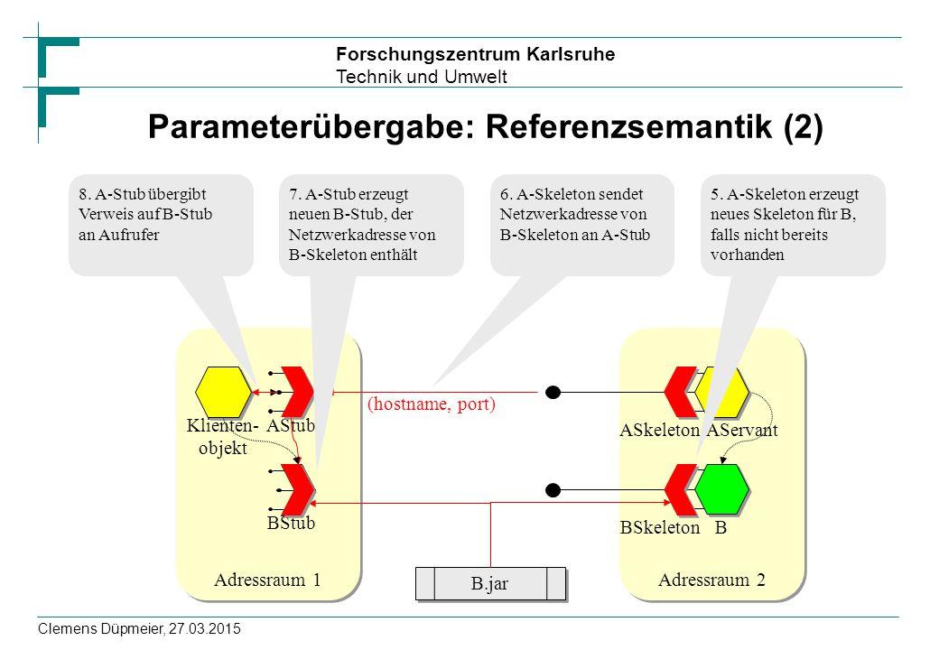 Forschungszentrum Karlsruhe Technik und Umwelt Clemens Düpmeier, 27.03.2015 Parameterübergabe: Referenzsemantik (2) Adressraum 2 AServant B ASkeleton