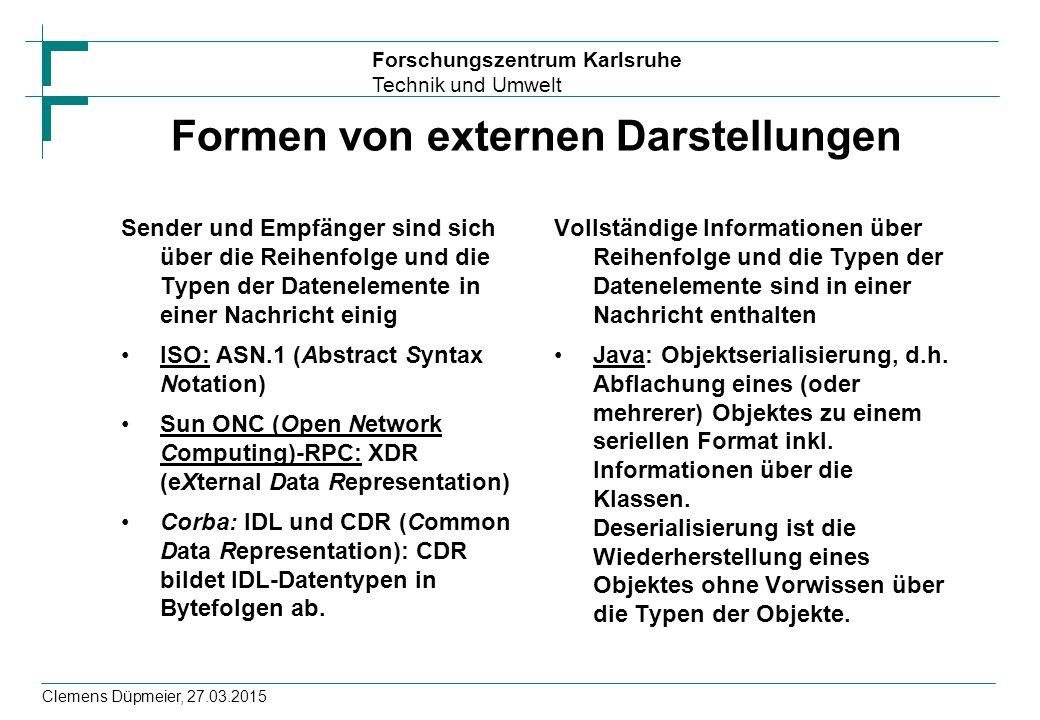 Forschungszentrum Karlsruhe Technik und Umwelt Clemens Düpmeier, 27.03.2015 Formen von externen Darstellungen Sender und Empfänger sind sich über die